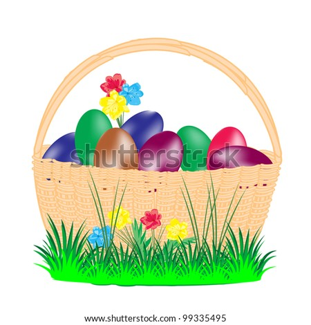 Illustration of the basket and painted egg to easter - stock vector