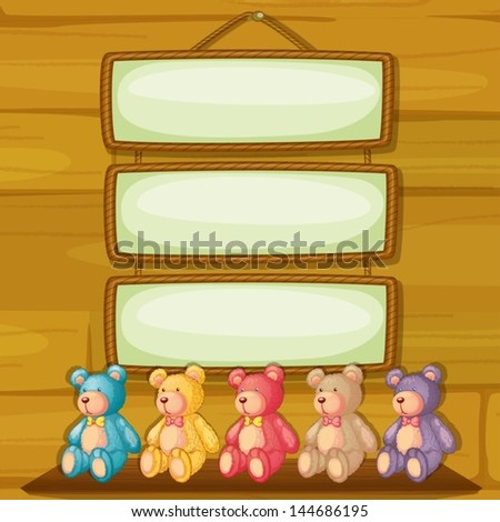 Illustration of the bears below the hanging signboards - stock vector