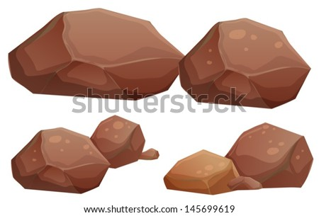 Illustration of the big and small rocks on a white background  - stock vector