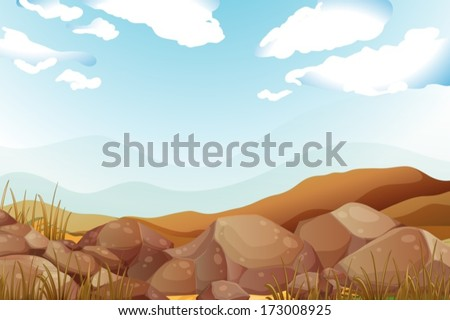 Illustration of the big brown rocks under the blue sky - stock vector