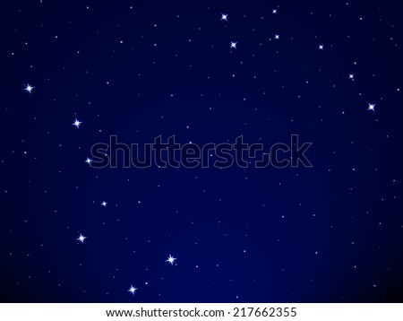 Illustration of the Big Dipper and Little Dipper constellation on starry sky background - stock vector
