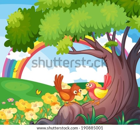 Illustration of the birds under the tree with a rainbow in the sky - stock vector