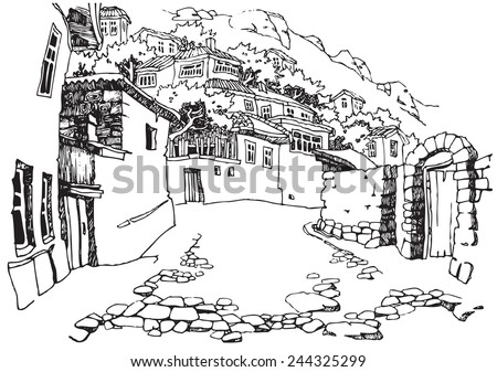 Illustration of the black and white design of the old city. Sketch, hand drawn with ink.
