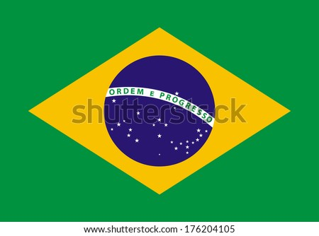 Illustration of the Brazil flag - stock vector