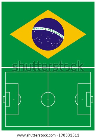 Illustration of the Brazil flag and the soccer field - stock vector