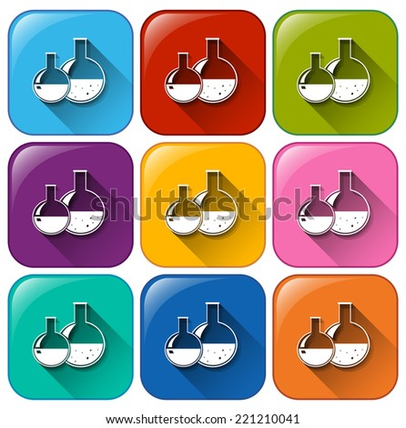 Illustration of the buttons with chemicals on a white background