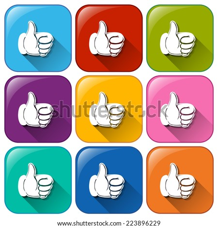 Illustration of the buttons with hands showing approval on a white background