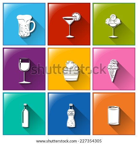 Illustration of the buttons with the different refreshing drinks on a white background  - stock vector