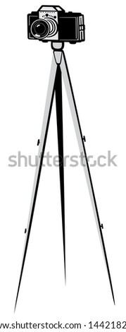Illustration of the camera on a tripod on a white background