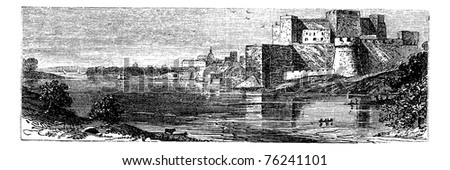 Illustration of the castle of Brindisi , or Red Castle vintage engraving. Old engraved illustration of the Brindisi Castle, in the town of Brindisi, Apuila region, Italy. - stock vector