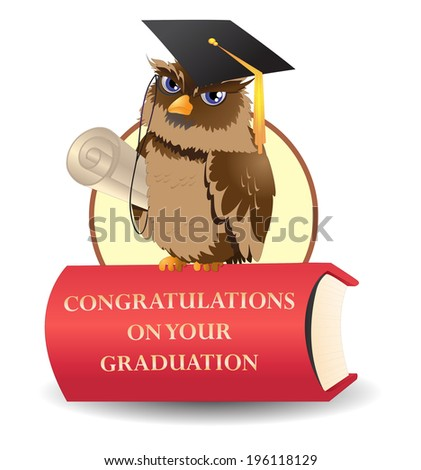 illustration of the cheerful scholar owl wear graduation hat on top of red book - stock vector