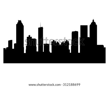 Illustration of the city skyline silhouette - Atlanta