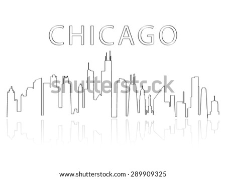 Illustration of the city skyline silhouette - Chicago - stock vector