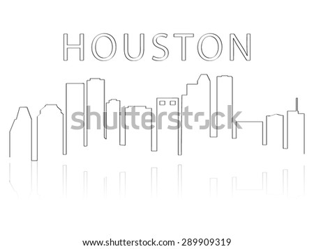 Illustration of the city skyline silhouette - Houston - stock vector