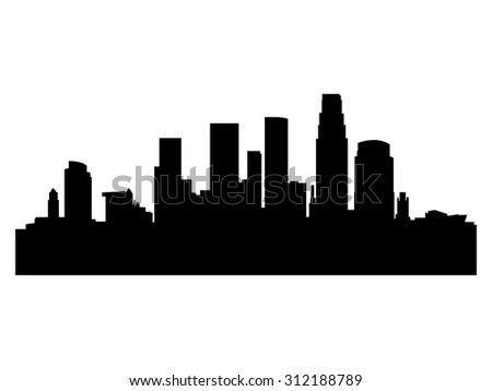 Illustration of the city skyline silhouette - Los Angeles - stock vector