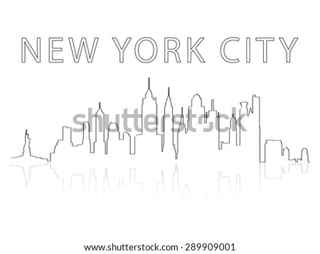 Illustration of the city skyline silhouette - New York City - stock vector