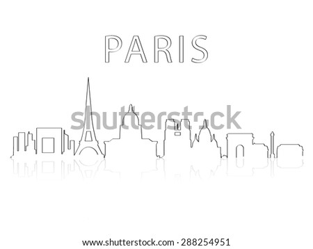 Illustration of the city skyline silhouette - Paris - stock vector