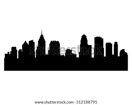 Illustration of the city skyline silhouette - Philadelhia - stock vector