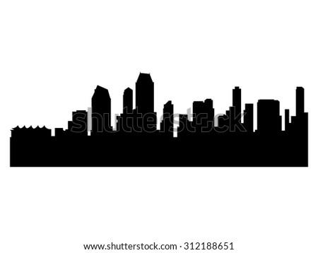 Illustration of the city skyline silhouette - San Diego - stock vector