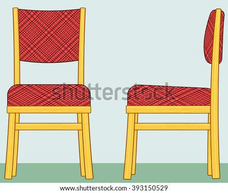 Illustration of the classic domestic padded chair. Front and side view - stock vector