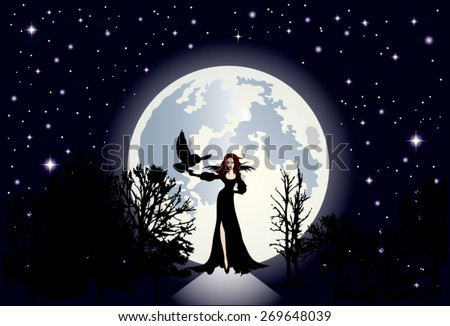 Illustration of the clear starry sky and a huge moon shining in the background.Foreground approaching a beautiful woman, a witch dressed in black with very white skin contrasting. - stock vector