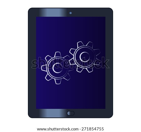 Illustration of the cogwheels on the tablet computer - stock vector