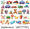 Illustration of the collection of toys on a white background - stock vector