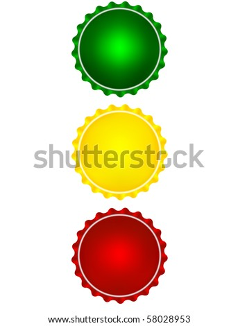 Illustration of the colored bottlecaps looks like a traffic light - stock vector