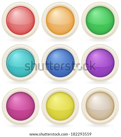 Illustration of the colorful web design buttons on a white background