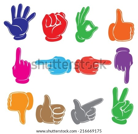 Illustration of the colourful hands on a white background