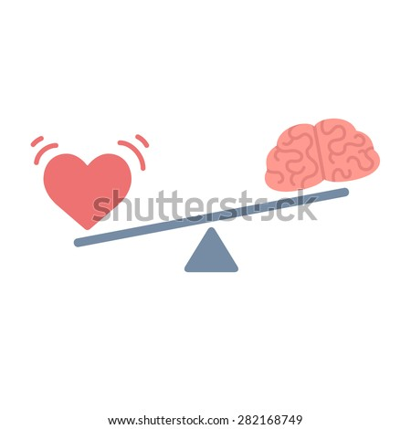 Illustration of the concept of balance between logic and emotion. Cartoon brain and heart on a scale. Simple and modern flat vector style, isolated on white background.  - stock vector