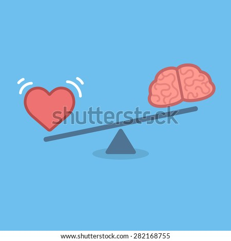 Illustration of the concept of balance between logic and emotion. Cartoon brain and heart on a scale. Simple and modern flat vector style.  - stock vector