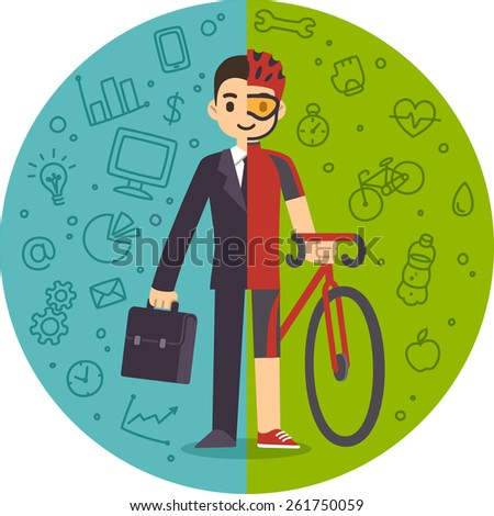 Illustration of the concept of life and work balance. Young businessman in suit on the left and with sports gear and a bicycle on the right. Background is separated into two thematic parts. - stock vector