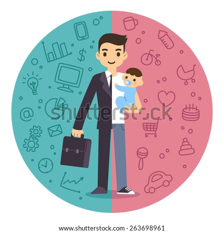 Illustration of the concept of life and work balance. Young businessman in suit on the left and with baby on the right. Background is divided in two thematic patterned parts. - stock vector