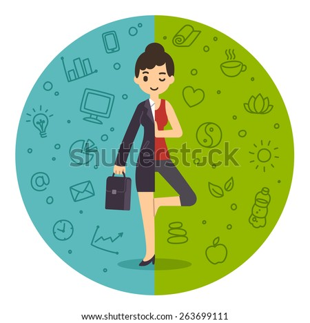 Illustration of the concept of life and work balance. Young businesswoman in suit on the left and doing yoga on the right. Background is divided in two thematic patterned parts. - stock vector