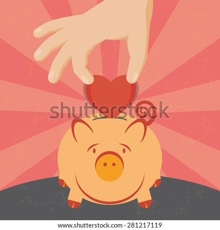 Illustration of the concept of saving a heart on a piggy. The grunge texture is removable from the background.