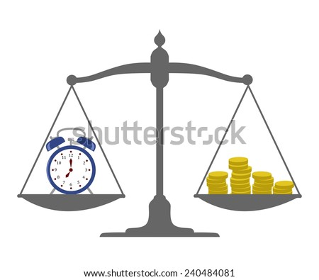 """illustration of the concept of """" time is money """" - stock vector"""