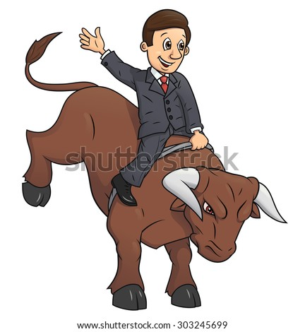 Illustration of the confident businessman riding big angry bull symbolizing success and risk in  business - stock vector