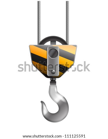 Illustration of the crane hook isolated on white - stock vector
