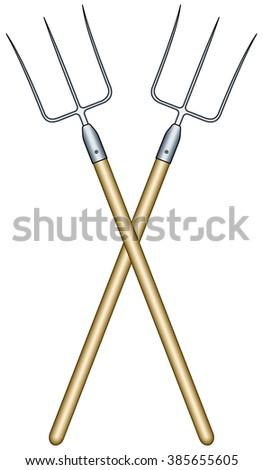 Illustration of the crosswise pitchforks - stock vector