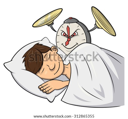 Illustration of the cruel clock wakening man with cymbal - stock vector