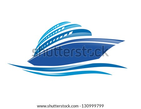 Illustration of the Cruise Ship Over White Background - stock vector