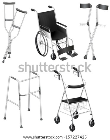 Illustration of the crutches and wheelchairs on a white background - stock vector