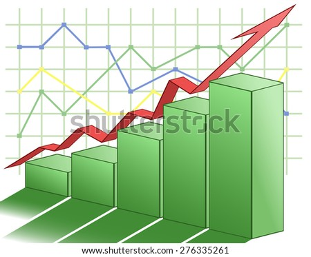 Illustration of the 3d business graph - stock vector