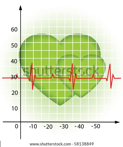 Illustration of the diagram of the heartbeat - stock vector