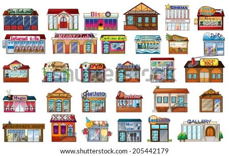 Illustration of the different buildings on a white background - stock vector