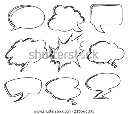 Illustration of the different callouts on a white background - stock vector
