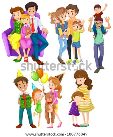 Illustration of the different families on a white background - stock vector