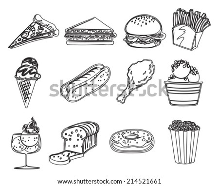 Illustration of the different foods on a white background - stock vector