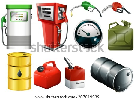 Illustration of the different fuel cans on a white background - stock vector